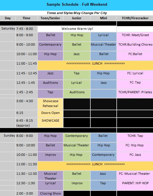 Breathe Sample Schedule